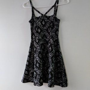 Topshop Grey and Patterned Geometric Strappy Dress